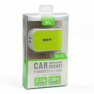 Разветвитель прикуривателя компакт, 2 гнезда, 2 USB 1-2,1 А, провод 50 см, зеленый