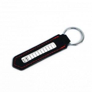 Брелок для ключей с номером телефона, кожа PU, черный