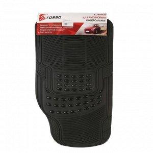Коврики автомобильные TORSO, резина, 70х44 см, 44х43.5 см, черный, набор 4 шт