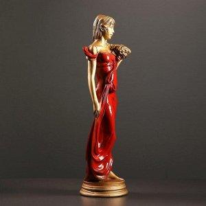 """Фигура """"Девушка с букетом"""" бронза/красный 20х15х56см"""