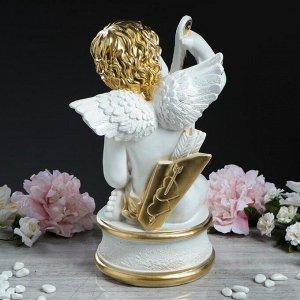 "Статуэтка ""Ангел Купидон на подставке"", бело-золотистая, 37 см"