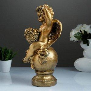 """Фигура """"Ангел с корзиной"""" бронза 19х20х42см"""