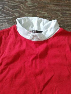 Блуза Хлопковая блуза с высокой контрастной горловиной  Замеры красной футболки в расправленном виде: пОГ 42 см (стрейч до 52 см), плечи 36 см, длина 62 см