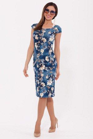 #70260 Платье Синий/бежевый