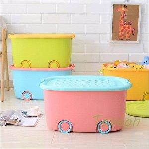 Корзина малая, для хранения детских игрушек 620 голубой с розовой крышкой