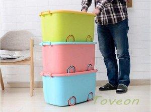 Корзина большая, для хранения детских игрушек 621 голубой с розовой крышкой