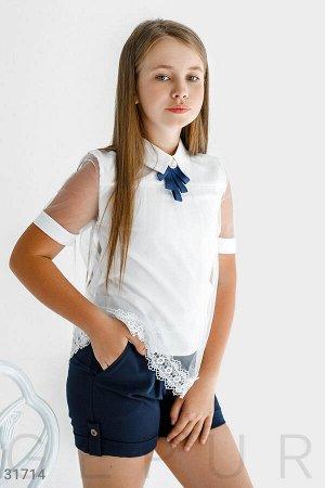 Блуза УКРАШЕНИЕ ДРУГОЕ-СМОТР ДОП ФОТО Двойная блуза, дополненная невесомым фатином с кружевом: отложной воротник со съемной брошью и прозрачный рукав.
