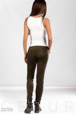 Облегающие замшевые брюки