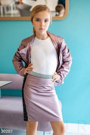 Кожаная юбка с пайетками