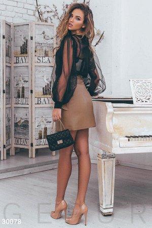 Кожаная юбка с оборками