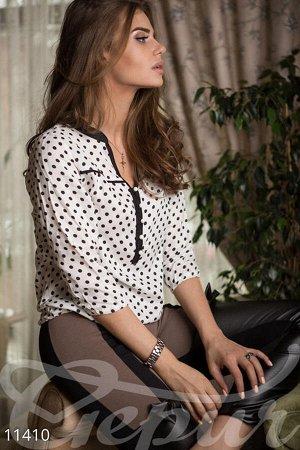 Блуза в горошек БЕЛО-СИНЯЯ