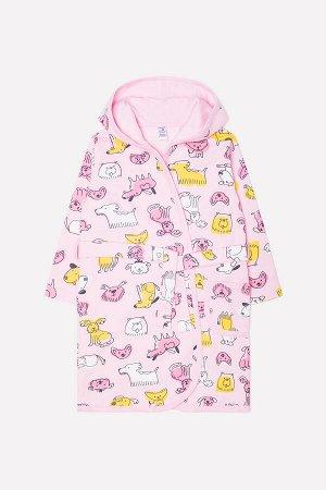 Халат для девочки Crockid К 5483 счастливые друзья на розовом