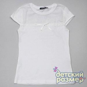 Блузка Блузка для девочек:  - выполнена из легкого и приятного к телу хлопкового трикотажа, за счет эластана в составе отлично садится по фигуре  - на груди м на рукавах вставка из прозрачной мелкой с