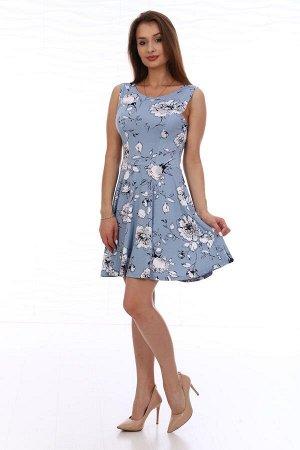 Платье . Платье женское трикотажное отрезное по линии талии. Полочка и спинка с отрезным бочком. Нижняя часть платья покроя «полусолнце». Длина изделия выше колена. Лёгкое романтичное платье нежной ра