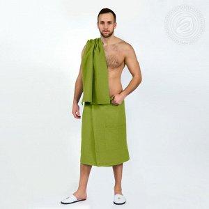 Набор для бани и сауны (мужской) - Фисташка - вафельный Набор для бани и сауны