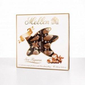 Морские фигуры: конфеты из молочного и белого шоколада с начинкой из орехового пралине 1/12/250г