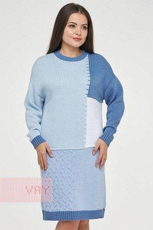 Платье женское-. Цвет: 18/4020/231/10054/9765 св.деним/голубой/белый/жемчужно-голубой