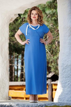 Платье Платье TEZA 214 голубой  Состав ткани: Вискоза-20%; ПЭ-80%;  Рост: 164 см.  Элегантное платье полуприлегающего силуэта, отрезное под грудью. По лифу переда имитация запаха с мягкой треугольной