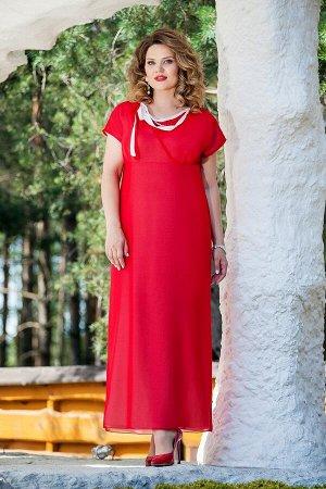 Платье Платье TEZA 214 красный  Состав ткани: Вискоза-20%; ПЭ-80%;  Рост: 164 см.  Элегантное платье полуприлегающего силуэта, отрезное под грудью. По лифу переда имитация запаха с мягкой треугольной