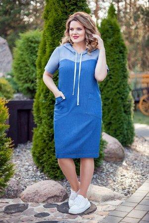 Платье Платье TEZA 193 темно-синий  Состав ткани: Хлопок-96%; Эластан-4%;  Рост: 164 см.  Платье женское прямого силуэта с втачными рукавами. Платье двухцветное: Капюшон, рукава и кокетки белые, а ни