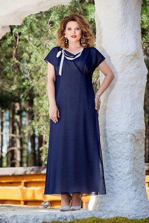 Платье Платье TEZA 214 темно-синий  Состав ткани: Вискоза-20%; ПЭ-80%;  Рост: 164 см.  Элегантное платье полуприлегающего силуэта, отрезное под грудью. По лифу переда имитация запаха с мягкой треугол