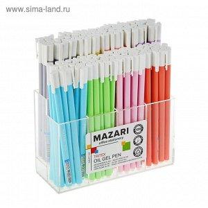 Ручка шариковая MAZARI Tritex, узел 0.7 мм, чернила синие на маслянной основе, игольчатый пишущий узел, микс, в дисплее