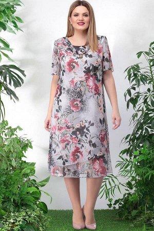 Платье Lenata 11746 бордовые-цветы