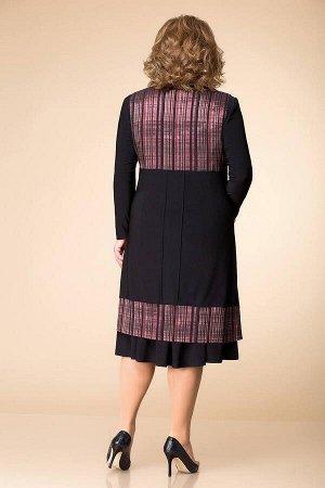 Жилет, платье Romanovich Style 3-1261 черный/бордо