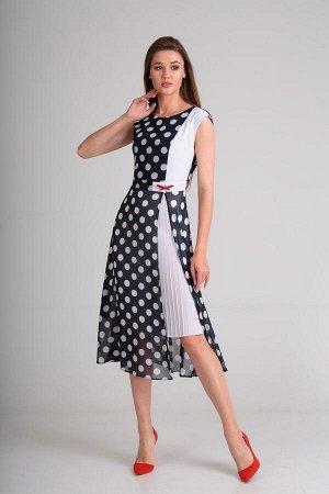 Платье SandyNa 13976 синий-горох