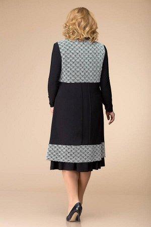 Жилет, платье Romanovich Style 3-1261 черный/белый