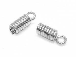 Пружинки-зажимы серебристые. 8 х 3 мм. 10 шт.
