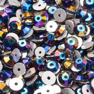 Пайетки хрустальные, синий металлик, размер SS20 (4.6мм), отв. 1мм, в 0.5 гросс - 72шт