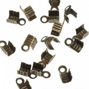 Концевики для тонких шнуров, железо, цвет бронза, ширина 3мм, отверстие 1.5мм