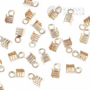 Концевики для тонких шнуров, железо, цвет светлое золото, ширина 3мм.