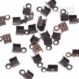 Концевики для шнуров, железо, цвет медь, ширина 4мм, отверстие 1.5мм