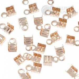 Концевики для шнуров, железо, цвет золото, ширина 4мм, отверстие 1.5мм