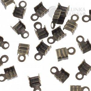 Концевики для шнуров, железо, цвет бронза, ширина 4мм, отверстие 1.5мм.