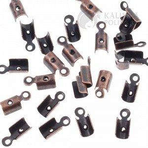 Концевики тонкие, железо, цвет медь, ширина 3мм.