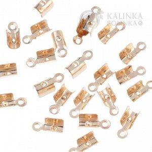 Концевики тонкие, железо, цвет золото, ширина 3мм