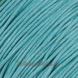 Шнур вощёный хлопковый, цвет небесный голубой, толщина 1мм в пасме 72м.
