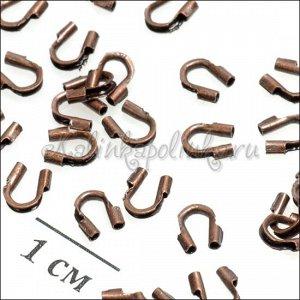 Протектор для защиты ювелирного тросика из латуни, цвет медь, р-р. 5х4х1мм.