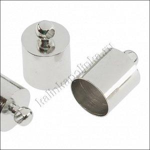 Концевики для шнуров 9х13мм, отверстие 8.5мм латунь, цвет платина