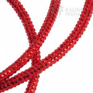 Шнур со стразами на тканевой основе, толщина 5,3мм, цвет красный