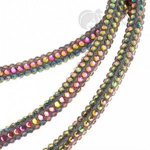 Шнур со стразами на тканевой основе, толщина 5,3мм, цвет радужный
