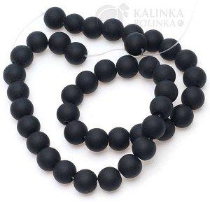 Бусины стеклянные черные матовые непрозрачные, без гранения, диаметр 10мм.