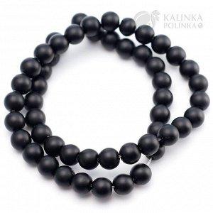 Бусины-шарики стеклянные, черные, матовые непрозрачные, без гранения, диаметр 8мм.