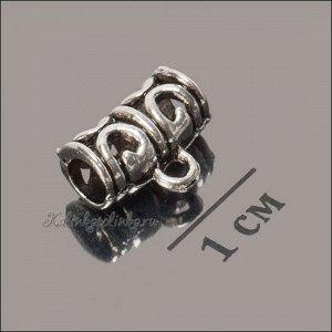 Держатель для кулона (бейл) из ювелирного сплава, для шнура 4мм, цвет античное серебро, р-р 12х9х6мм, отв-е 2мм