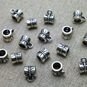 Бейлы из ювелирного сплава, малые, цвет античное серебро, 7x10x7мм, отв-е 5мм.