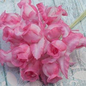 Цветы из ткани Розочки, цвет бело-розовый с бело-розовыми листьями, р-р 12х18мм, ножка белая 8см, в букете 12 шт.