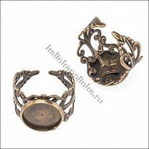 Основа для кольца винтажная с сеттингом (внутр. диам. 12мм), регулируемый р-р, железо, цвет бронза, ОПТ Основа для кольца винтажная с сеттингом (внутр. диам. 12мм), регулируемый р-р, железо, цвет брон